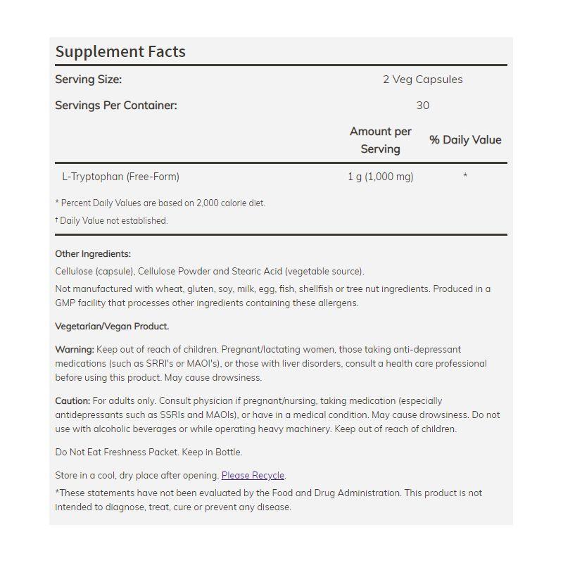 NOW Foods - L-Tryptophan 500 mg Veg 60 tabliet