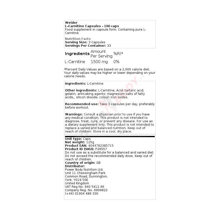 Weider - L-Carnitine 100 kapsúl