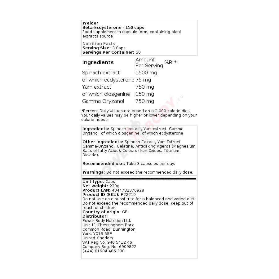 Weider Beta - Ecdysterone 150 kapsúl