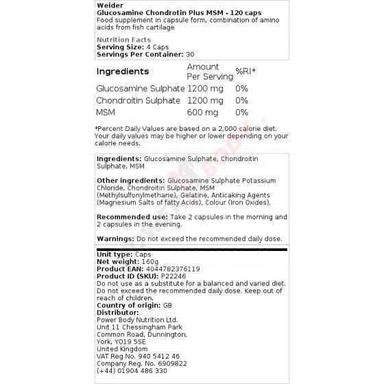 Weider Glucosamine Chondroitin + MSM 120 kapsúl